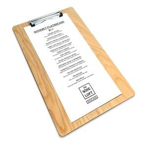 "9"" x 15"" Alder Menu Board with Clip - 1/4"" Thick"