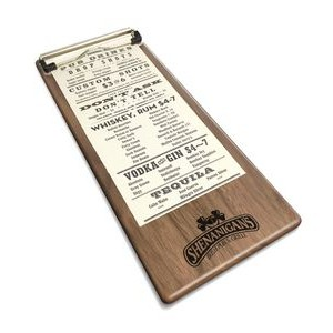 "5"" x 12"" Solid Walnut Menu Board with Clip - 1/4"" Thick"
