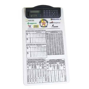 Legal Size Clipboard w/ Dual Power Calculator/ Clock Clip