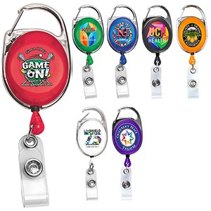 """Oberlin Pl"" Retractable Carabiner Style Badge Reel & Badge Holder (Full Color)"