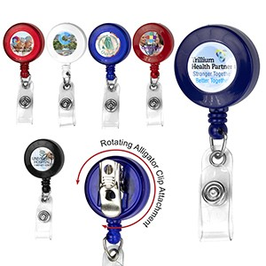 """Bellefontaine VL"" Retractable Badge Reel & Badge Holder w/Rotating Alligator Clip (Full Color)"