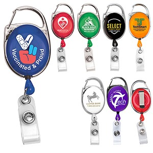 """Oberlin"" Retractable Carabiner Style Badge Reel & Badge Holder"