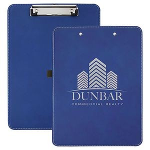 "Blue/Silver Laserable Leatherette Clip Board w/Pen Holder, 9"" x 12-1/2"""