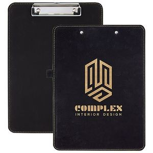 "Black/Gold Laserable Leatherette Clip Board w/Pen Holder, 9"" x 12-1/2"""