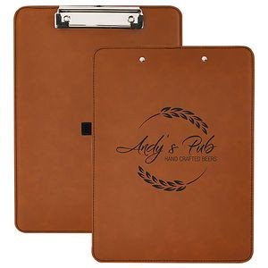"Rawhide Laserable Leatherette Clip Board w/Pen Holder, 9"" x 12-1/2"""