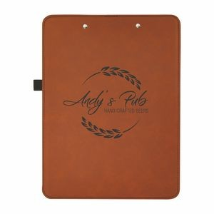 "9"" x 12 1/2"" Rawhide/Black Leatherette Clipboard"