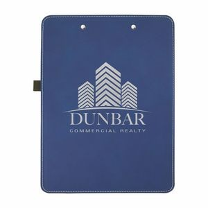 "9"" x 12 1/2"" Blue/Silver Leatherette Clipboard"