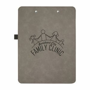 "9"" x 12 1/2"" Gray/Black Leatherette Clipboard"